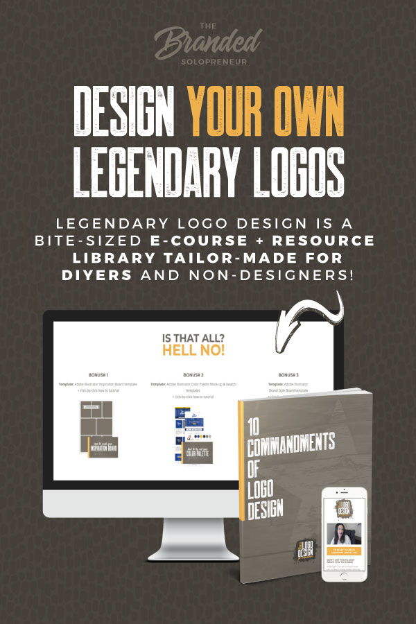 Legendary Logo Design is a bite-sized e-course + resource library tailor-made for non-designers! In this training, you'll learn how to create legendary logos, even if you have no design experience. | logo design branding | logo design inspiration branding | visual identity design branding logos | how to logo design tips | how to make a diy logo | logo branding design | branding inspiration #brandingdesign #branding101 #brandingstrategy #brandidentity #brandidentitydesign #brandinginspiration
